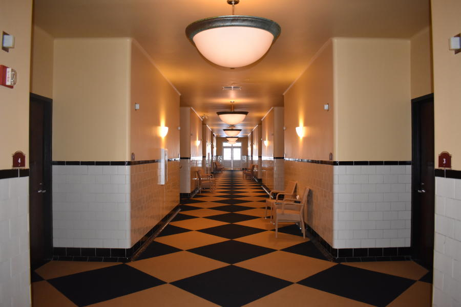 Shot of Roosevelt Bath & Spa hallway