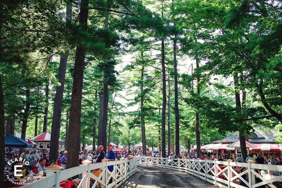 Path and trees through Saratoga Race Course