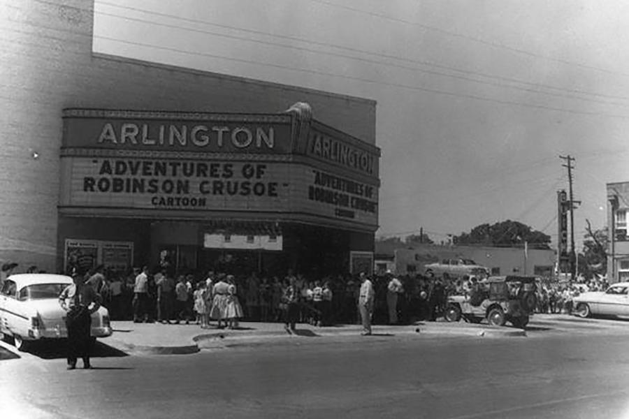 Old black and white photo of Arlington Music Hall