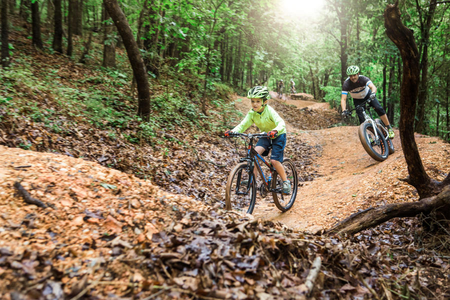 Images of a father and son riding on a mountain bike trail. The trees have lush greenery on a cool fall morning