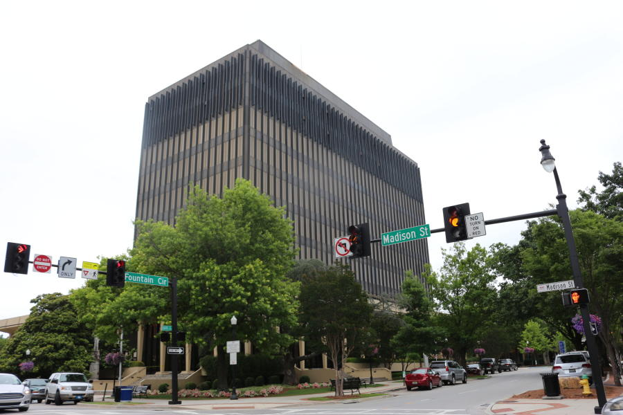 A street-level image of the current County Courthouse in downtown Huntsville.