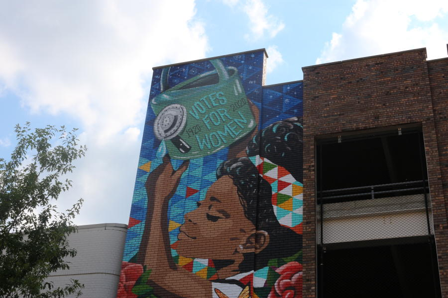 This mural celebrating the 19th Amendment can be found on Washington Street in downtown Huntsville.