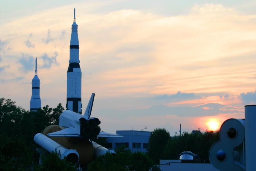 The U.S. Space & Rocket Center in Huntsville makes for some epic sunset views.