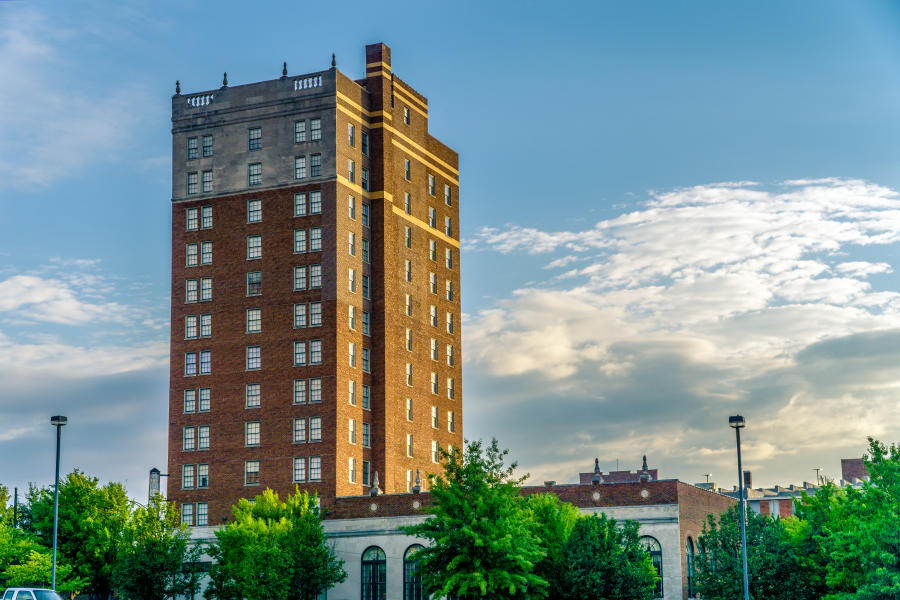 The Russel Erskine Hotel stands tall in historic Huntsville, Alabama.