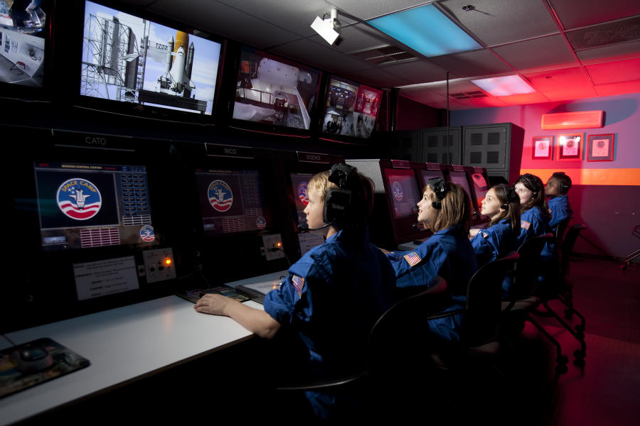 Kids At Space Camp Working At Command Center