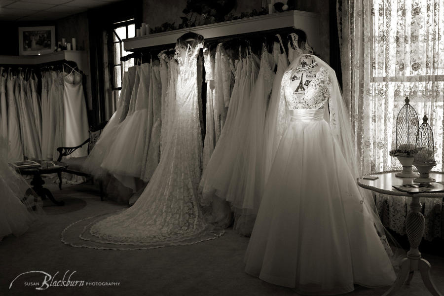 Black and white photo of wedding gowns at Something Bleu Bridal in Saratoga Springs, NY