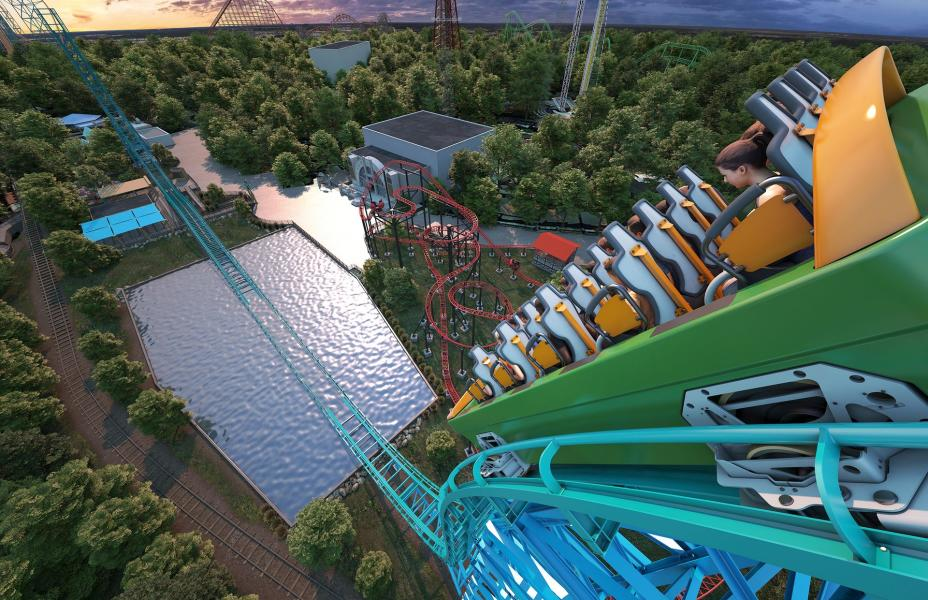 Rendering of new roller coaster at Six Flags Over Texas, Aquaman Power Wave.
