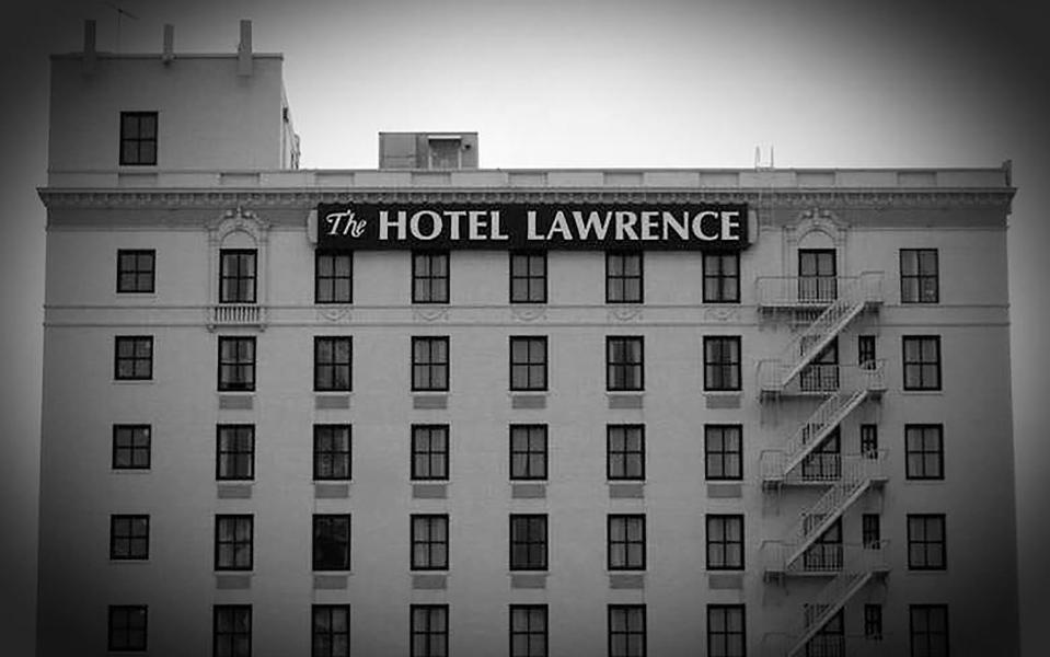 Black and white photo of exterior of Hotel Lawrence