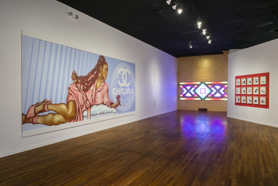 Mural and exhibit at Mexic Arte Museum.