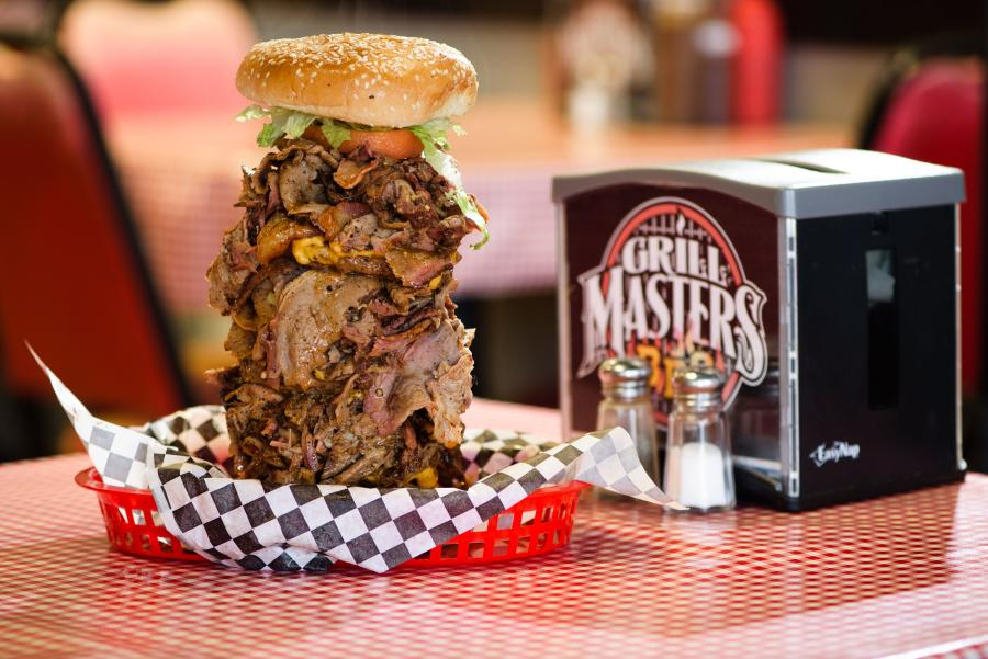 Extra large sandwich with meat from Grill Masters