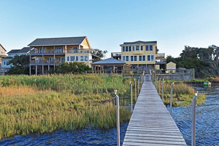 Exterior of Cafe Pamlico from the dock