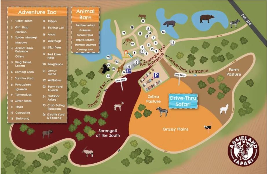 Aggieland Safari Map