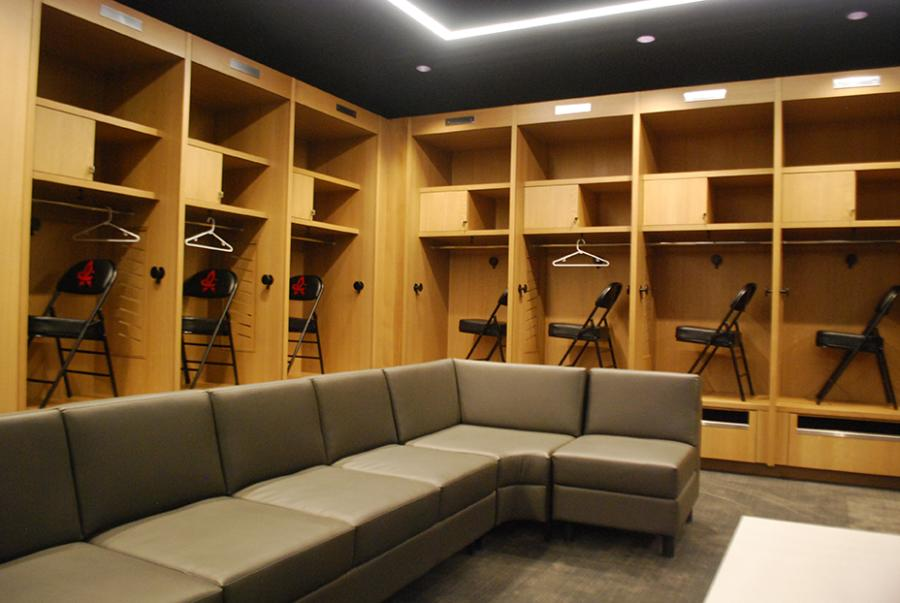 A peek inside the player's locker rooms at Toyota Field in Huntsville, AL.