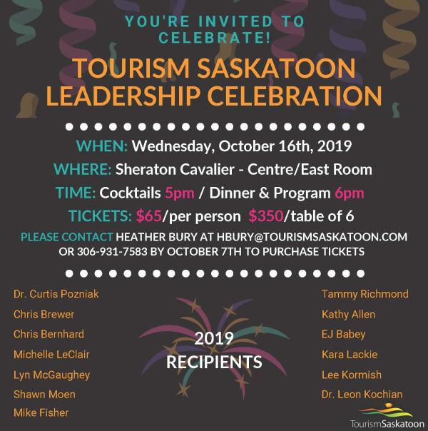 Tourism Saskatoon Leadership Celebration 2019
