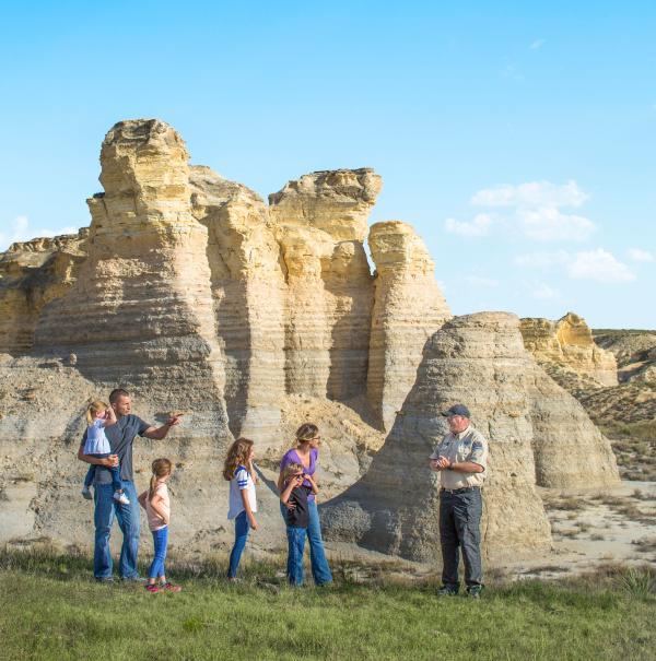 Family and ranger at Little Jerusalem