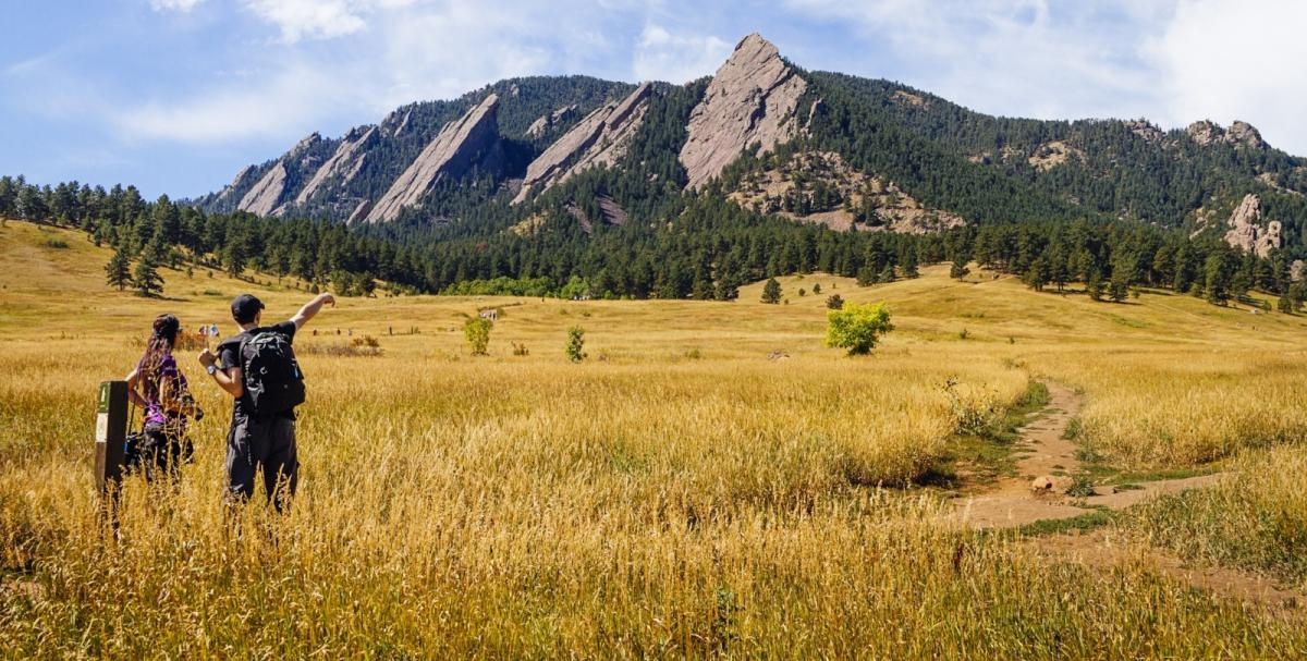 Flatirons with hikers