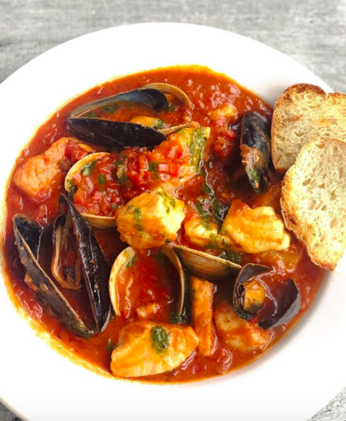 A bowl of seafood fra diavolo from Blue Point Grill