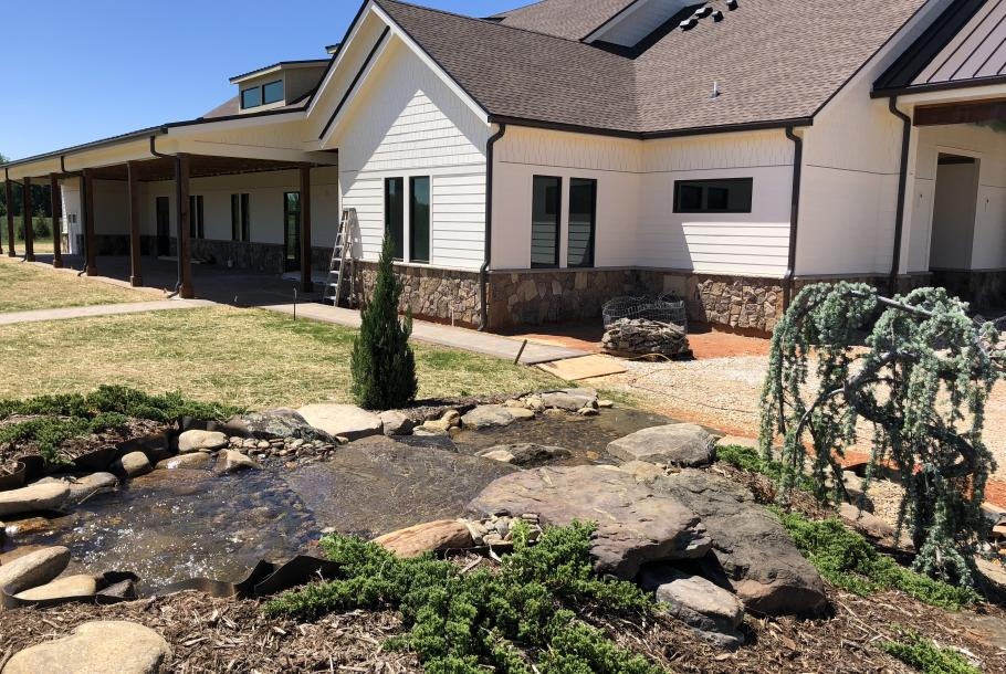 Water Feature and Rear Patio