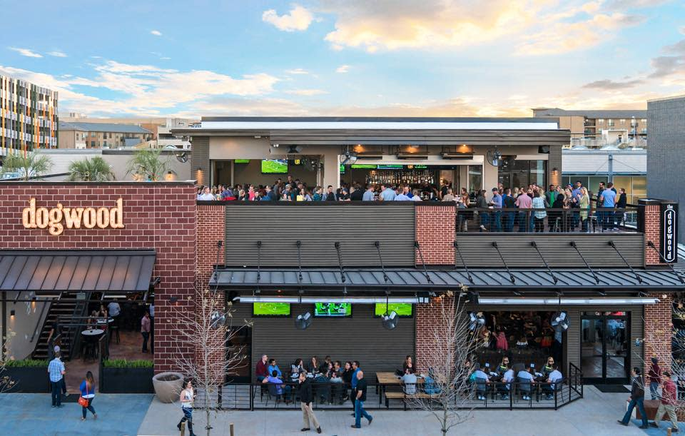 exterior view of the Dogwood sports bar at Rock Rose in Austin Texas