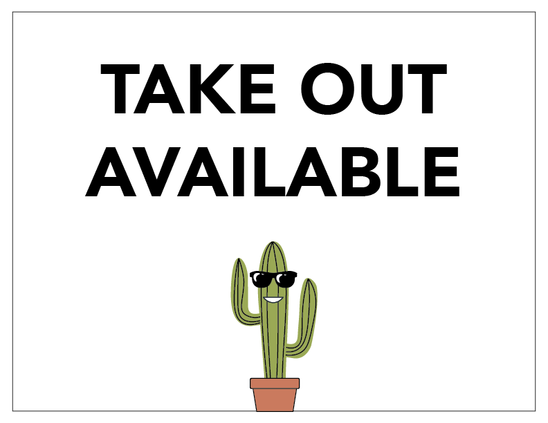 Take Out Available Sign