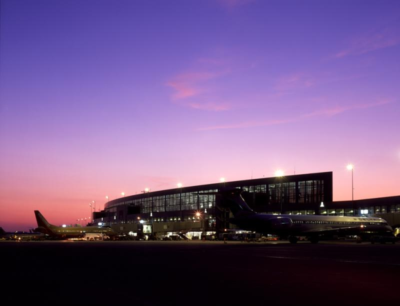 Austin Bergstrom International Airport terminal at sunset in austin texas