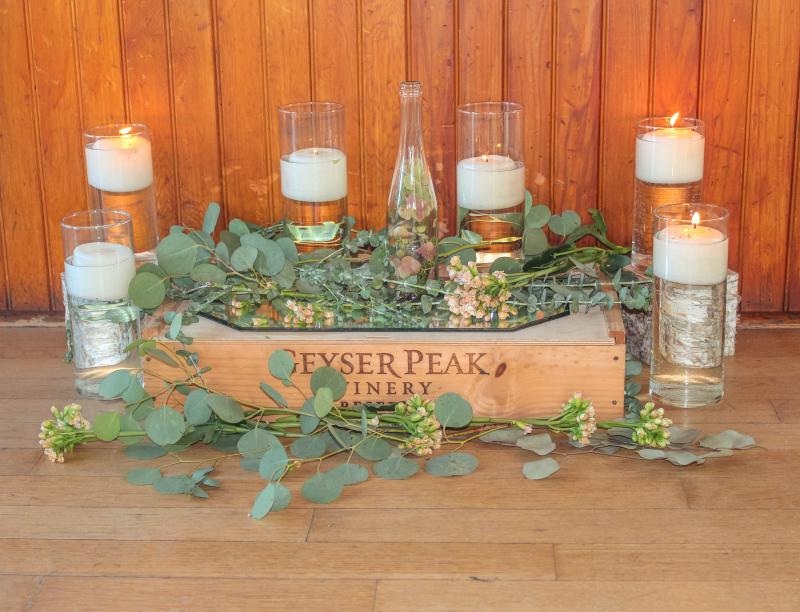 Candles and wine crate