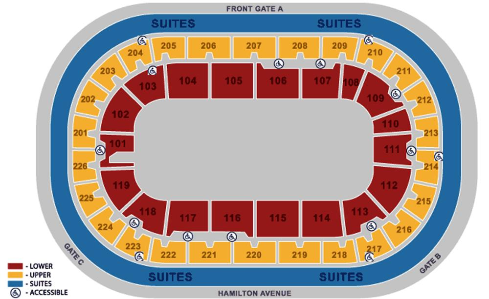 CURE Arena Sporting Events Seating Plan