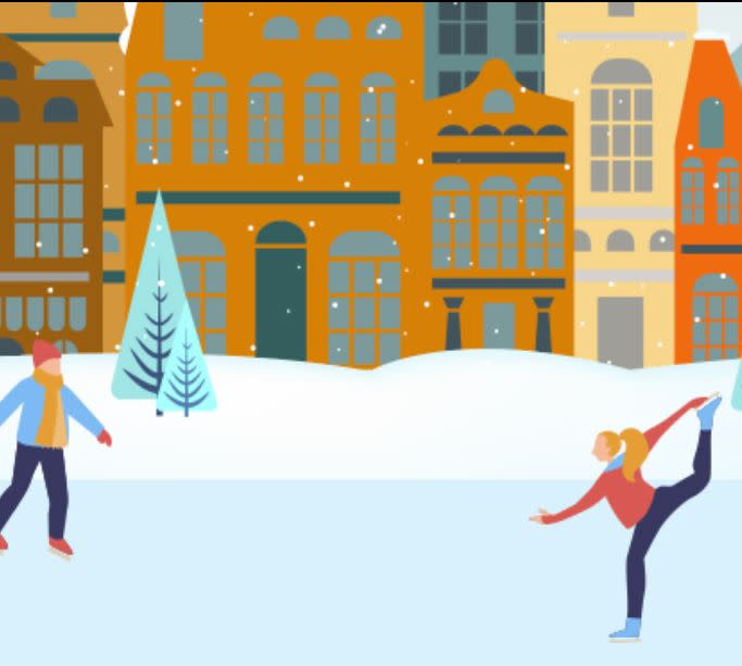Ice Skating digital illustration of a man and a woman