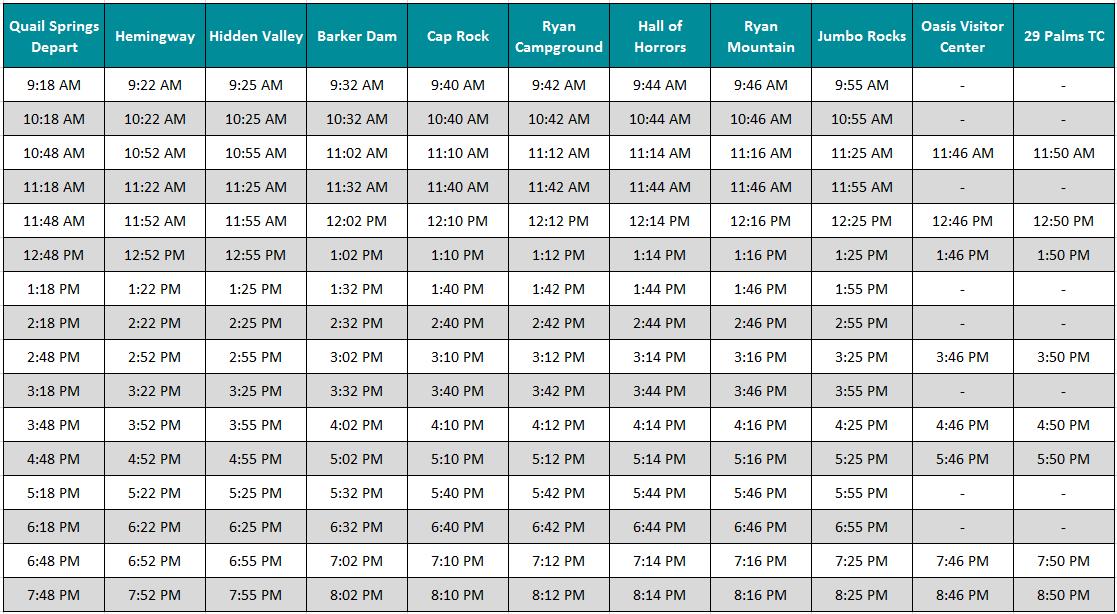 Joshua Tree Shuttle Schedule