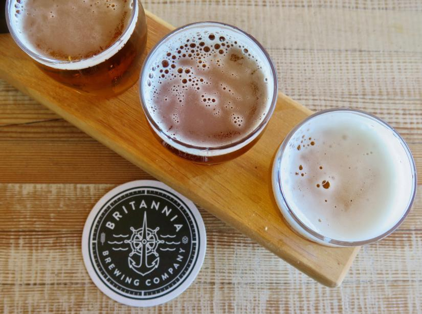Enjoy a beer flight at Britannia Brewing