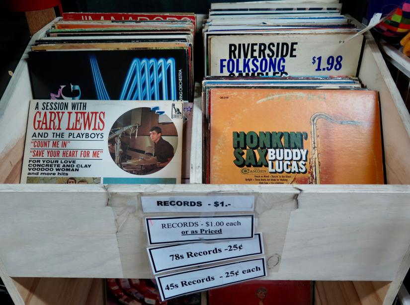 Browsable vinyl at the Richmond Hospital/Healthcare Auxiliary Thrift Shop