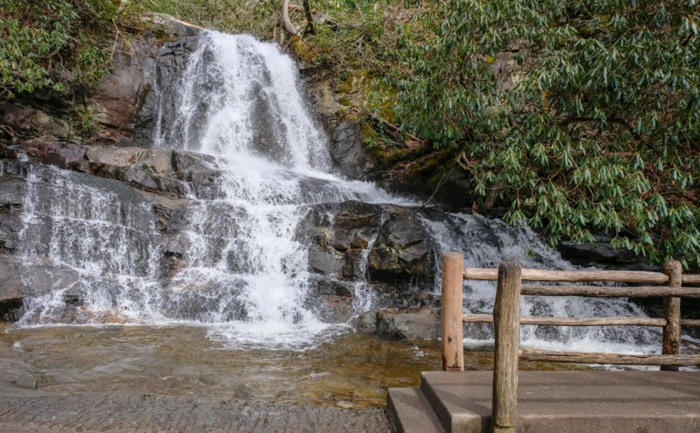 A paved trail leads visitors right up to the action at Laurel Falls.