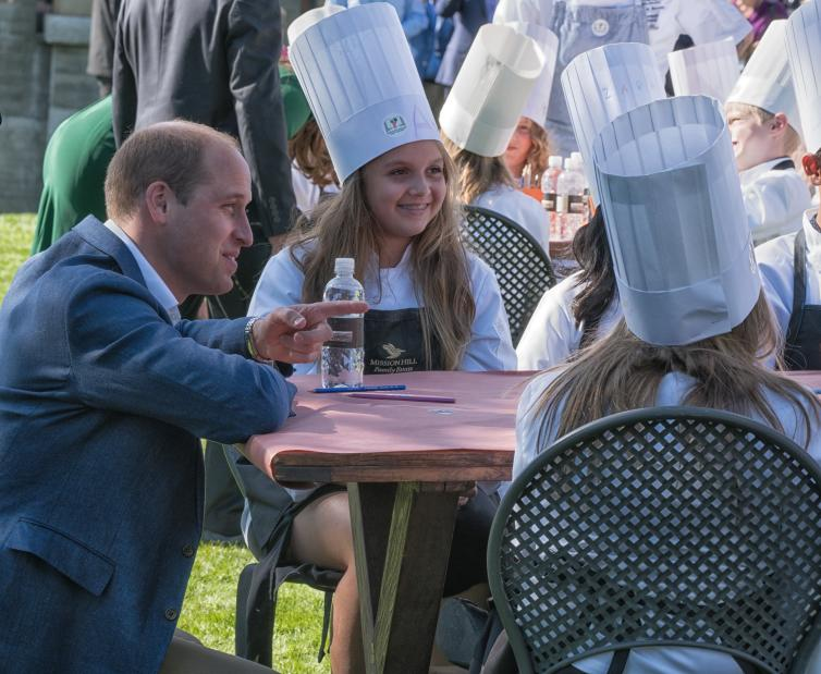Prince William Speaking with Young Chefs