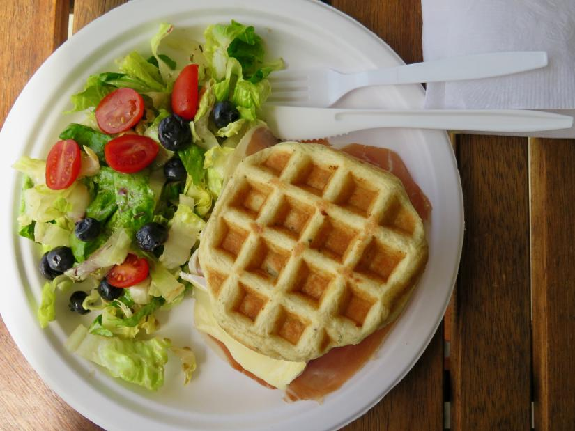 Lunch at Damien's Belgian Waffles.