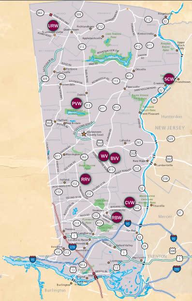 Bucks County Wine Trail map