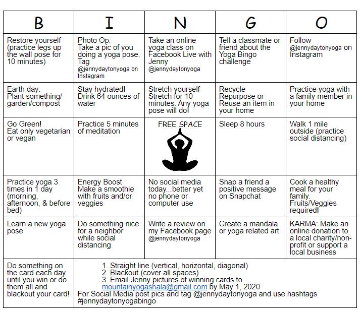 Jenny Dayton Yoga Bingo Card