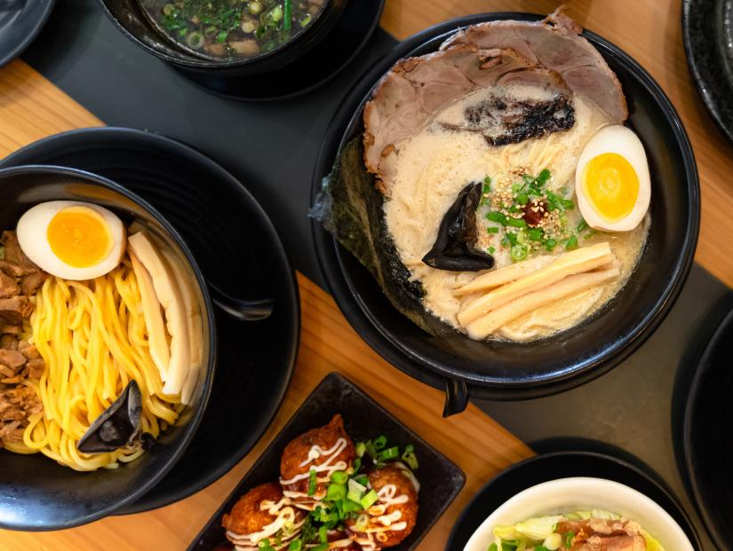Bowls of ramen with pork and egg