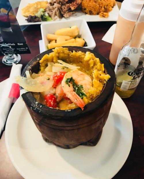 De Rican Chef serves up a dish of authentic Shrimp Mofongo.