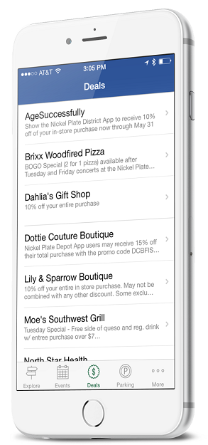 Fishers, IN Mobile smartphone App deals and coupons section