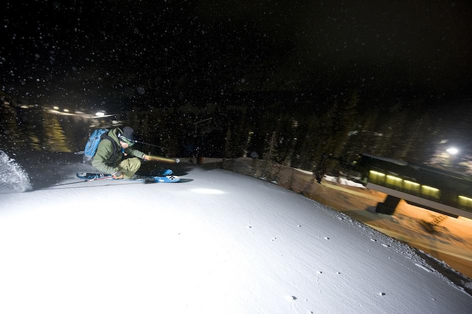 Skier participating in the Ski City Shootout Night Skiing event in Brighton