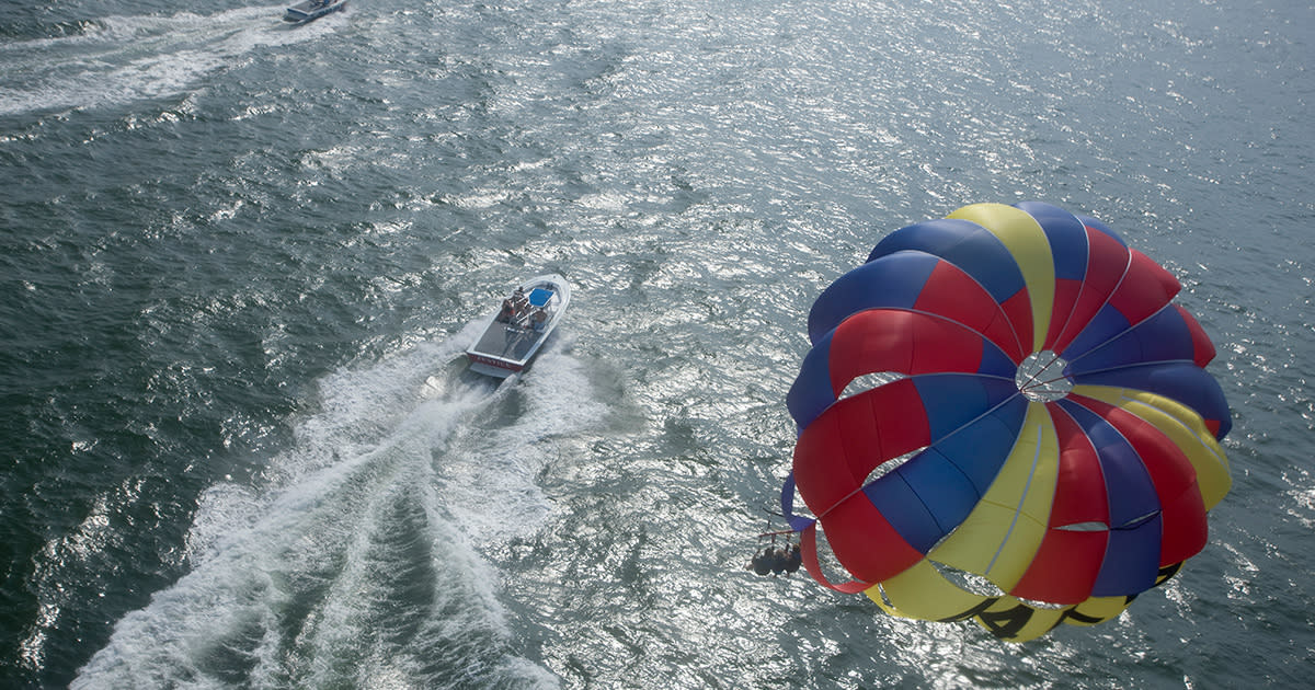 Parasail boat from above