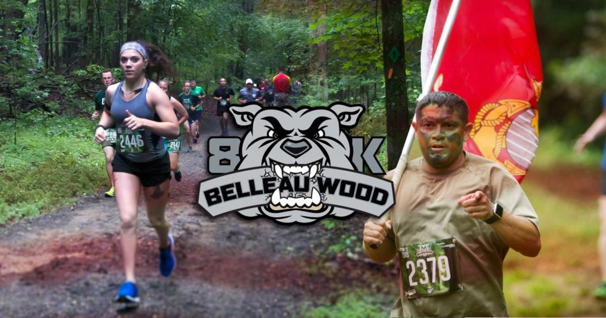 Group of people on a trail run for Belleau Wood 8K