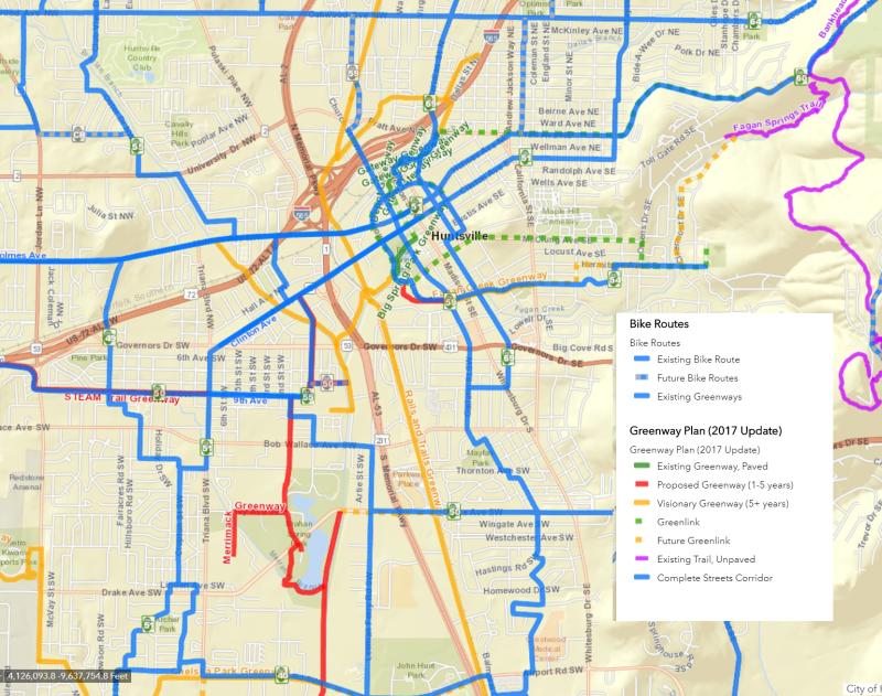 City of Huntsville Map Bike