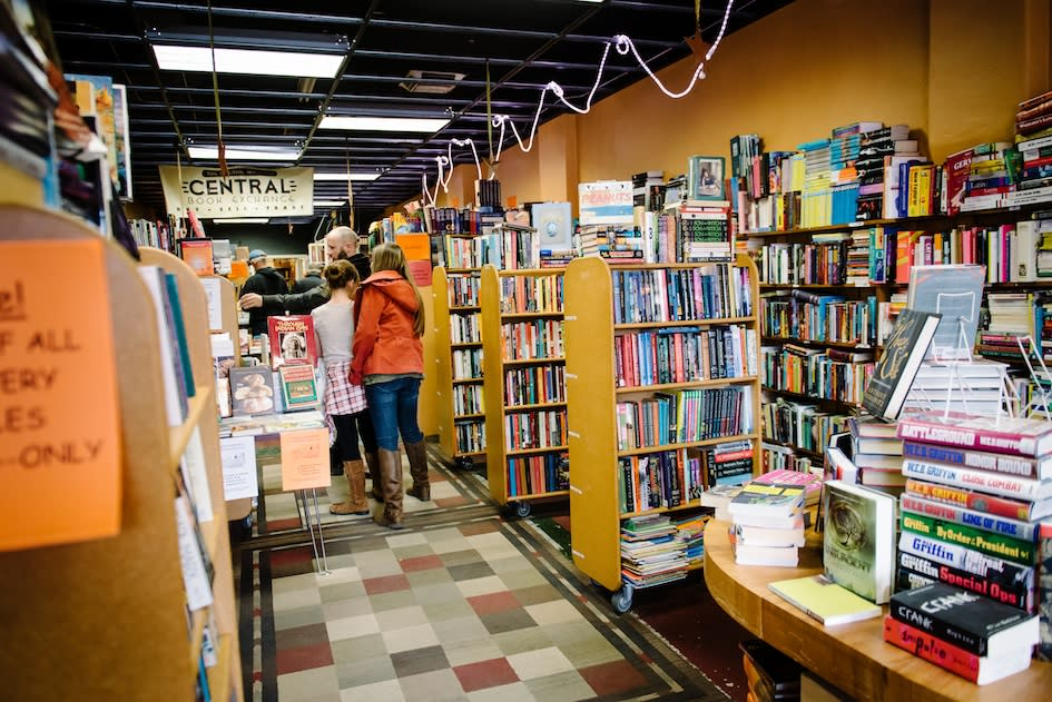 Patrons exploring the Book Exchange in Sugar House Salt Lake City