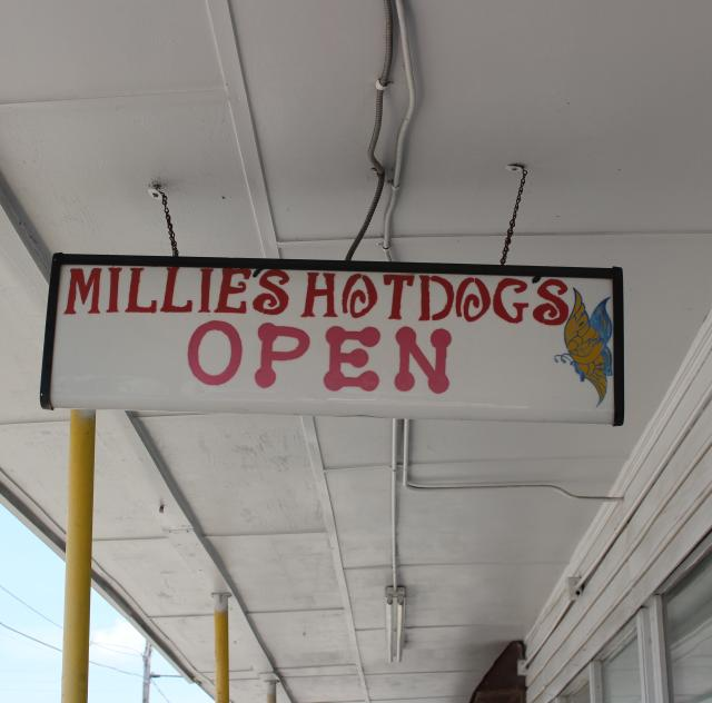 Millie's Hot Dogs Sign