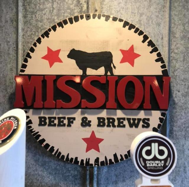 Mission Beef & Brews sign