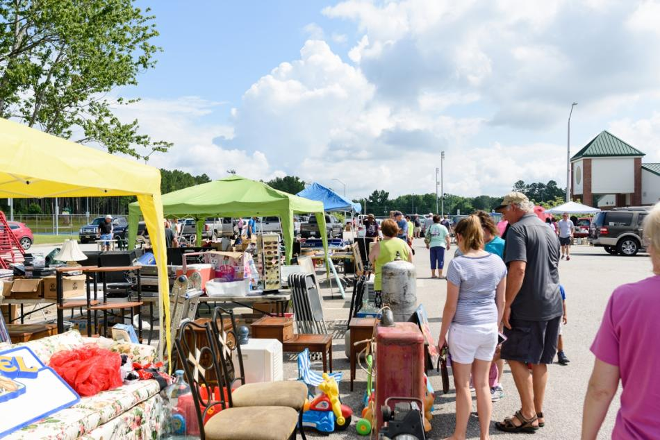 Tents set up with shoppers at the 301 Endless Yard Sale in Johnston County, NC.