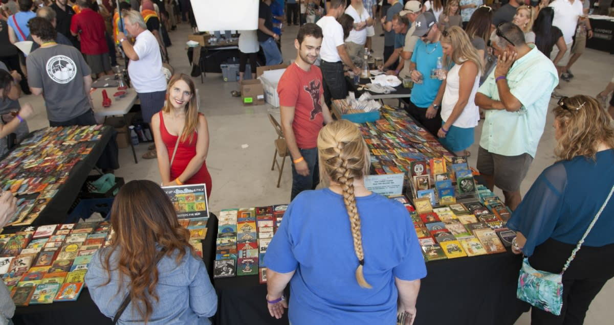 Crowd looking at merchandise during Props & Hops Beer Festival