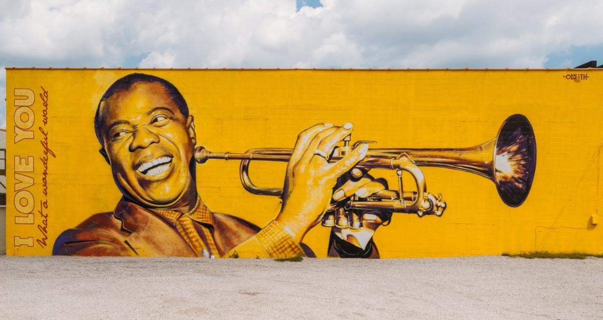 Mural of Louis Armstrong by Odeith