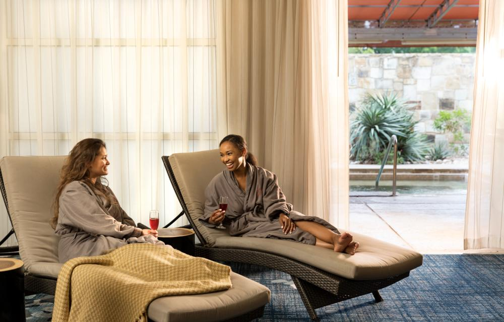 couple relaxing at Spa Django at Hyatt Lost Pines Resort and Spa near Austin Texas